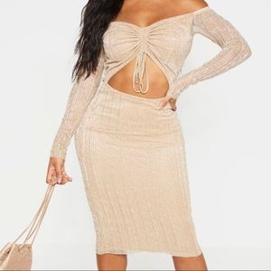 PrettyLittleThing Gold Plisse Bardot Cut Out Dress
